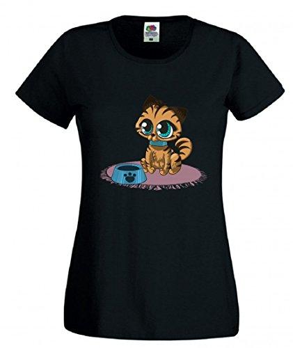 T-Shirt KÄTZCHEN- Katze- GROßE Augen- Ohren- Tier- Haustier- JUNG- VERSPIELT- FLAUSCHIG- NIEDLICH- Nette Katze- Pokal in Schwarz für Herren- Damen- Kinder