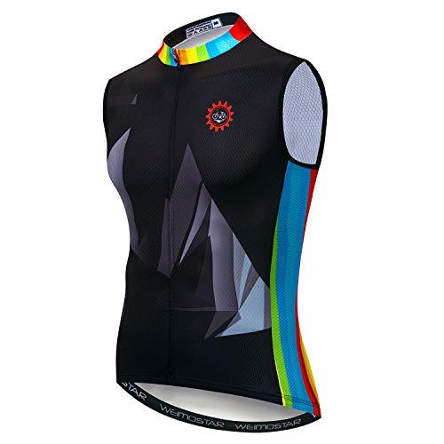 Maglia da ciclismo da uomo in jersey senza maniche S-3XL riflettente 3 tasche, Uomo, CD5521, S