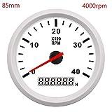 スピードメーター走行距離計 52ミリメートル/ 85ミリメートルボートタコメータマリンカータコメーターLCDデジタルレッドライト0から9990 RPMラップタイマーアワーメータ12 / 24V (Color : White 4000 rpm, Size : フリー)
