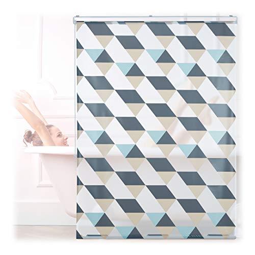 Relaxdays Duschrollo, 120x240 cm, Dreieck Muster, Seilzug, Flexible Montage, Duschvorhang für Badewanne & Fenster, bunt
