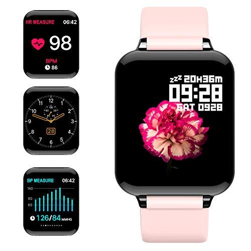 jpantech Montre Connectée Smartwatch Femmes Homme Montre Sport Podometre Cardio Frequencemètre Chronomètres, Bracelet Connecté Etanche 50 Mètres, Montre Tactile pour Android iOS Téléphone(Rose)
