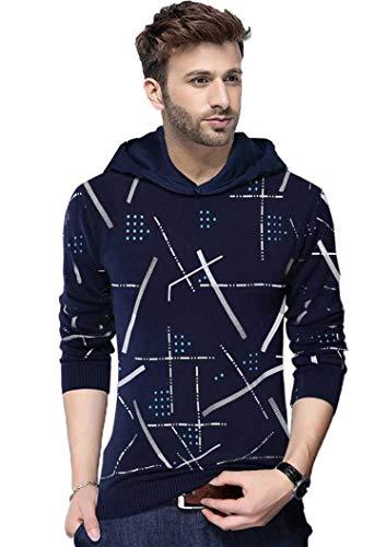 Dagcros Printed Full Sleeve Hooded T-Shirt for Men's&Boy's (Nevy Blue-Medium)
