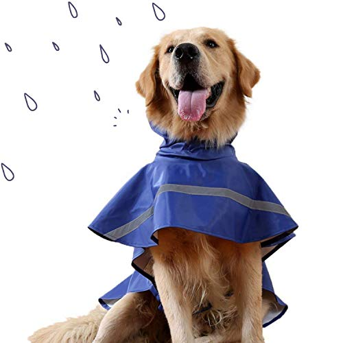 JYHY Dog Raincoat Adjustable Reflective Waterproof Lightweight Dog Rain Jacket Rain Poncho with Hood...