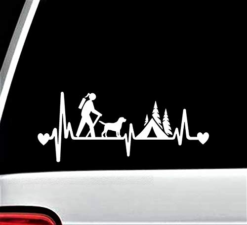 Best Design Amazing Girl Hiker Camper Hiking with Dog Camping Tent Heartbeat Lifeline Decal Sticker and Stick Decals - Made in USA