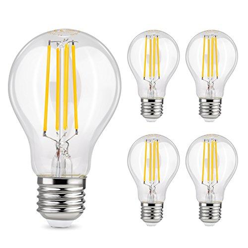 Albrillo LED E27 Lampe - 6W Ersetzt 70W | LED Classic Lampe E27 Filament | 800 Lumen Lampen E27 in Kolbenform | Warmweiss 2700K | Filamentstil Klar | 5er Pack