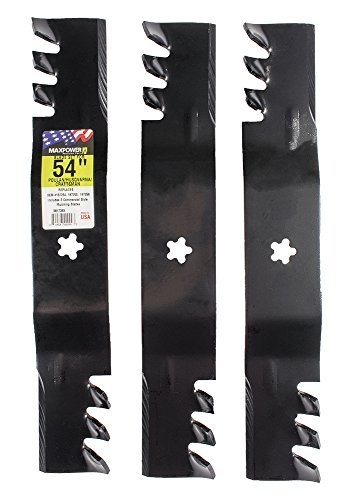 "MaxPower 561738XB Commercial Mulching 3-Blade Set for a 54"" Cut Craftsman/Husqvarna/Poulan Replaces 32187255, 532187256 and Many Others, Black"