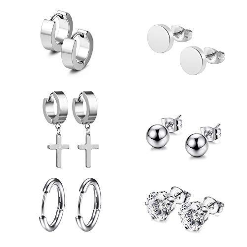 6 Pairs Stainless Steel Silver Hoop Earrings Stud Earrings for Men Women Girls Boys, CZ Men Earrings Studs Silver Diamond, Small Hoop Earrings Men, Cross Earrings Silver Earrings Men Huggie Piercing