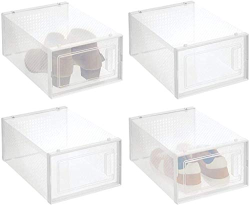 mDesign Stackable Plastic Closet Storage Box with Side Opening Panel- for Organizing Men's and Women's Shoes, Booties, Pumps, Sandals, Wedges, Flats, Heels, and Accessories, 8 Pack - White/Clear