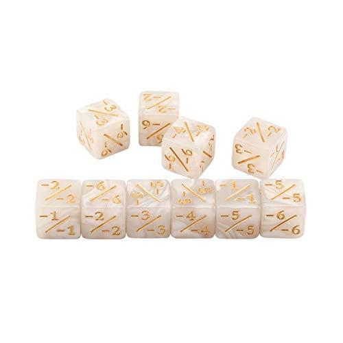 Triamisu 10x Würfelzähler 5 Positiv + 1 / + 1 & 5 Negativ -1 / -1 Für Magie Das Sammeltischspiel Lustige Würfel Hohe Qualität - Weiß