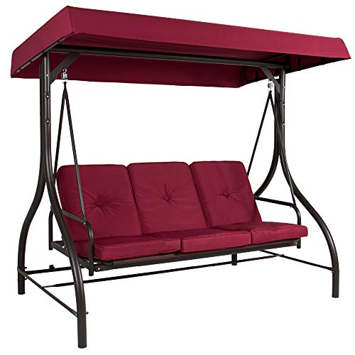 Best Choice Products 3-Seat Outdoor Large Converting Canopy Swing Glider, Patio Hammock Lounge Chair for Porch, Backyard w Flatbed, Adjustable Shade, Removable Cushions - Burgundy