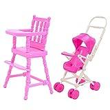 Mishiner 2 Piezas de casa de muñecas Accesorios, Cochecito para muñecas Silla Alta + Cochecito de bebé Carro de casa de muñecas Muebles Accesorios para Barbie niños niñas Regalo