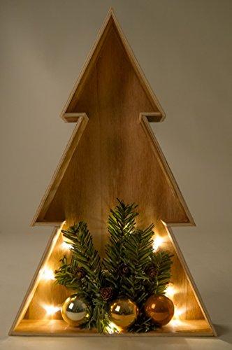 BURI 3D LED-Holz-Weihnachtsbaum 38cm Weihnachtsdeko Fensterbild Wanddeko Beleuchtung, Farbe:Natur