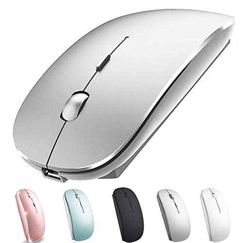 Rechargeable Wireless Mouse for MacBook Pro Mac iMac Laptop Chromebook MacBook Air Win8/10 Desktop Computer DELL HP (Silver)