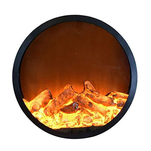 AJH Elektrokamin Wandmontage Elektrokamin Infrarot-Ofenheizung, realistische 3D-Flammeneffekte, einstellbare Helligkeit und Heizmodus Gehärtete Glasoberfläche Freistehend Tragbar