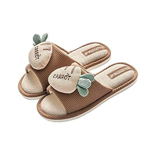 Lindas pantuflas de lino con diseño de fresa y zanahoria,cómodas y casuales,zapatillas de algodón,café,41-42