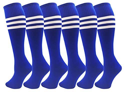 Kids Soccer Socks, 6 Pairs, Boys Girls Long Sport Athletic Tube Sock, Over the Calf (Royal Blue, Shoe Sizes 6-10 / Ages 12-15)