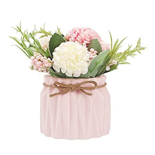 Plante Artificielle en Pot d'Hortensia CNNIK Pot en Céramique d'Hortensia Bouquet de Fleurs Artificielles avec Vase en Céramique pour Mariage Bureau Table Fenêtre Salon Chambre à Coucher Fête (Rose)
