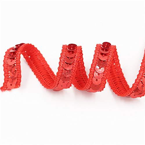 Paillettenband Farbiges Pailletten Band für Bastelprojekte Tanzbekleidungen Dekorationen 12 mm Breites 25 m Länge (Rot)