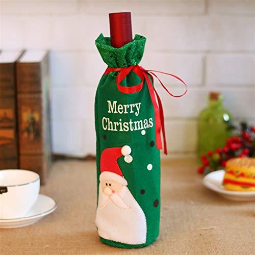 2pcs decoraciones de Navidad de Santa Claus vino Cubiertas de botellas de champán muñeco de nieve bolsas de regalos de las lentejuelas de Navidad Inicio Dinner Party Tabla décoración ( Color : Green )