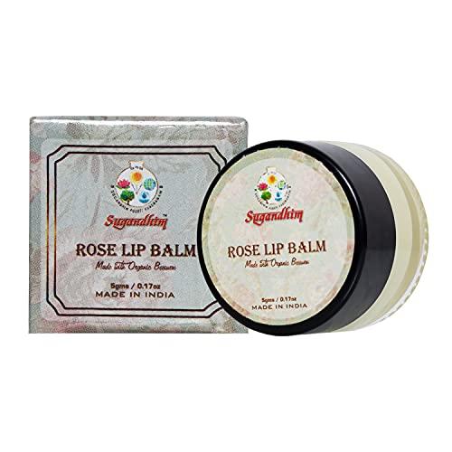 Sugandhim Rose Lip Balm, 1 x 5gms, 100% Natural Floral Wax, Moisturized, Nourishes, Natural Shine, Improve Darkened, Made In India.