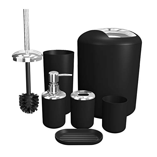 TEKITSFUN Black Bathroom Accessories Set, 6 Pieces Plastic Gift Bath Accessory Sets Luxury Ensemble Includes Toothbrush Holder,Toothbrush Cup,Soap Dispenser,Soap Dish,Toilet Brush Holder,Trash Can