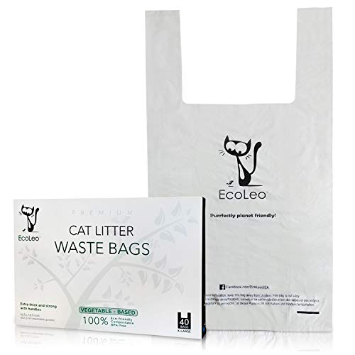 EcoLeo Cat Litter Waste Poop Bags - X-Large, Compostable, Plastic-Free, Thick, Leak Proof, Pet/Dog Poo Bags with Easy-Tie Handles,10.5 x 18.5 inch, (40-Count)