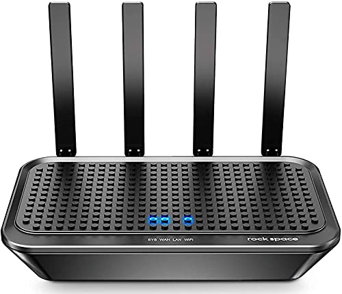 rockspace Smart WiFi Router-4 Gigabit Port Dual-Core CPU Internet Router WiFi Performance for 50+ Devices, Wireless Internet Router with Beamforming & Power Amplifier Provide Coverage Up to 2000Sq.Ft
