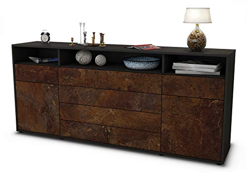 Stil.Zeit Sideboard Evelina/Korpus anthrazit matt/Front Rost Industrie-Design (180x79x35cm) Push-to-Open Technik & Leichtlaufschienen