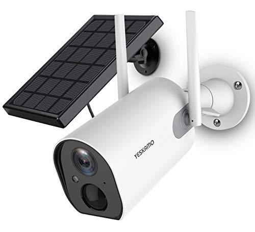YESKAMO Cámara de vigilancia exterior con batería de 10400 mAh, cámara IP con panel solar, WiFi 1080P, cámara para vigilancia doméstica, audio de dos vías, resistente al agua, visión nocturna