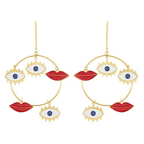 LIUL Pendientes de botón de Color Dorado para Mujer, Pendientes de Mal de Ojo, joyería, Pendientes de corazón, Regalo de Fiesta
