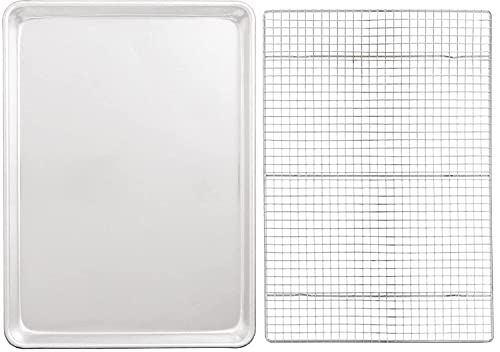 HIC Mrs. Anderson's Baking Heavyweight Aluminum 22' x 16' Big Sheet Baking Pan and 21' x 14.5' Chrome-Plated Steel Cooling Rack, 2 Piece Set