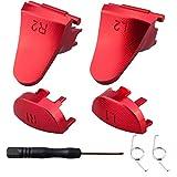 YoRHa Metal Aluminio Reparación de Reemplazo Personalización L1 L2 y R1 R2 Desencadenar Botón Extensor (Rojo) para Mando PS4/Slim/PRO con Destornillador