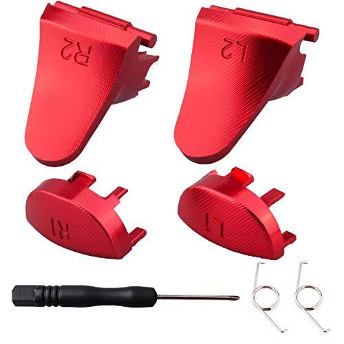 YoRHa Métal Aluminium Réparation de Remplacement Personnalisation L1 L2 & R1 R2 Déclencheur Bouton Extenseur (Rouge) pour Manette PS4/Slim/PRO avec Tournevis
