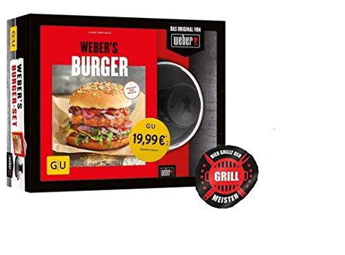 Weber's Burger-Set + Grillmeister-Sticker | Burger Presse und Buch, Burgerpresse