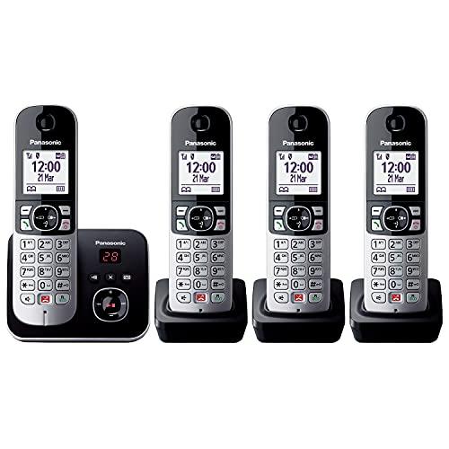 Panasonic KX-TG6864GB Schnurlostelefon mit 4 Mobilteilen und Anrufbeantworter (Bis zu 1.000 Telefonnummern sperren, übersichtliche Schriftgröße, lauter Hörer, Voll-Duplex Freisprechen) schwarz-silber