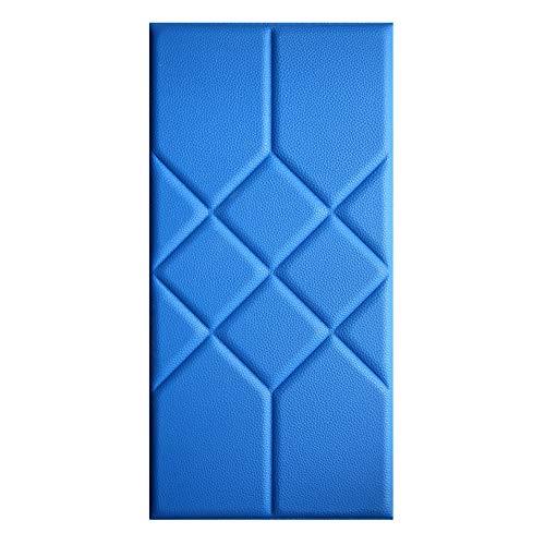 3D zelfklevende muursticker, PU achtergrond muur zachte decoratie bed bumper veiligheid kussen, waterdichte muursticker, gebruikt voor woonkamer achtergrond muurdecoratie 8 tablets Blauw