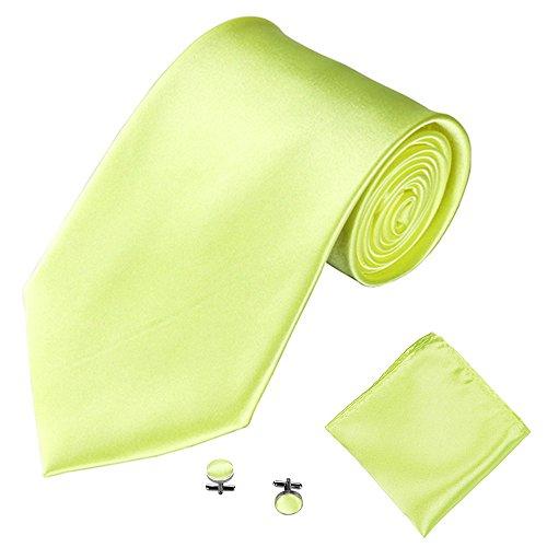 Syeytx 3 STÜCKE Klassische einfarbig Männer Party Krawatte Einstecktuch Taschentuch Manschettenknopf Satin dreiteiligen Anzug