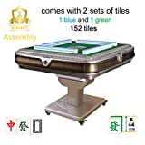 Assembled 已安装 144Chinese 44mm Tiles 超大手感牌 Folding Automatic Mahjong Table w Drawers, Chinese / Philippine Style, Comes 2 Sets of Magnetic Tiles no Number (Blue & Green) & One Year Warranty