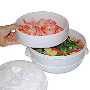 MTS Cuiseur vapeur 2 plateaux pour riz, pâtes et légumes Passe au micro-ondes Cuisson saine