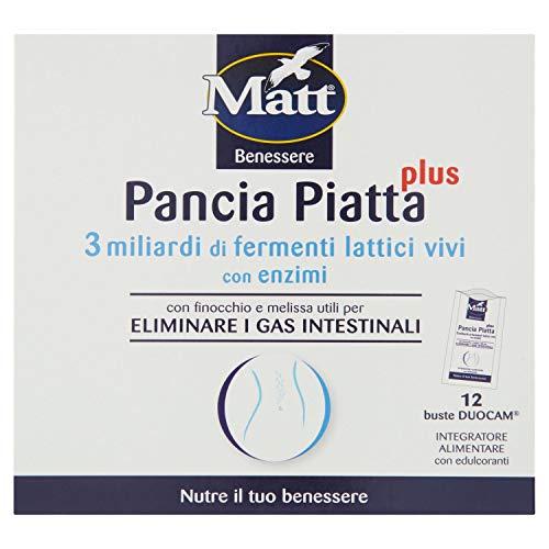 Matt Pancia Piatta Plus - Bustine per l Equilibrio della Flora Intestinale e l Eliminazione dei Gas Intestinali - Integratore Alimentare con Edulcoloranti- 12 Bustine - 51,6 g