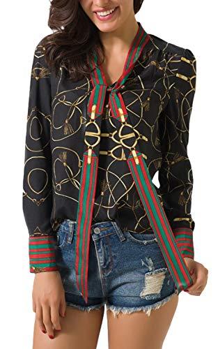 Sviuse Floral Print Women's Tops Casual V Neck Long Sleeve Ribbon Elegant Blouses Chiffon Top Shirts Work Blouse for Women(XXL, Black)