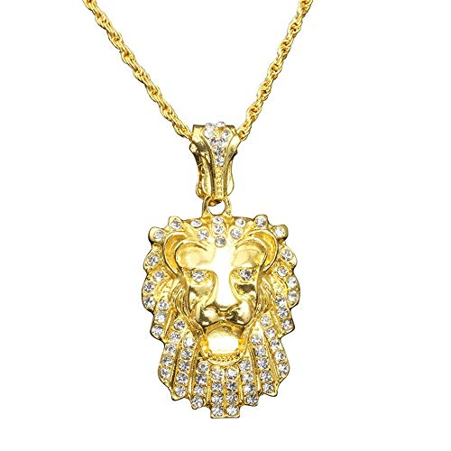 QiKun-Home Único Hombre Fresco Estilo Hip-Hop Cabeza de león en Forma de Collar con Colgante de Diamantes de imitación Cadena de joyería Cadena de suéter Dorado