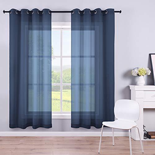 Navy Curtains 63 Inch Length for Boys Room Decor 2 Panels Set Grommet Semi Voile Window Drapes Navy Blue Sheer Curtains for Living Room Kids Bedroom Summer 52x63 Long