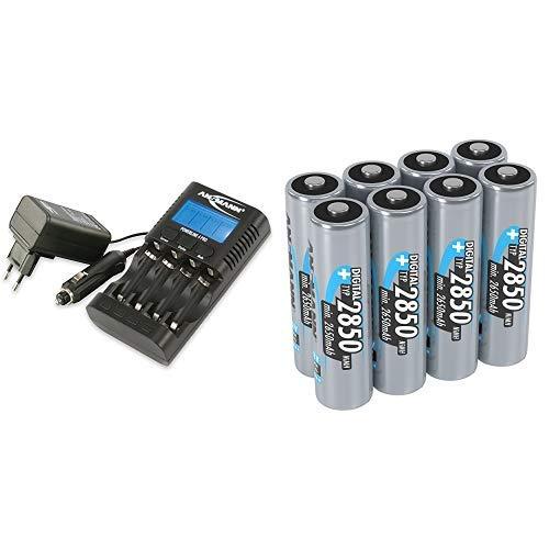 ANSMANN Powerline 4 Pro Akku Ladestation für 1-4 NiMH/NiCd-AA oder AAA Akkus & Akkupflegegerät mit USB & mobile Geräte & ANSMANN Akku AA Mignon Typ 2850mAh 1,2V & ohne Memory Akkus AA ideal 8 Stück