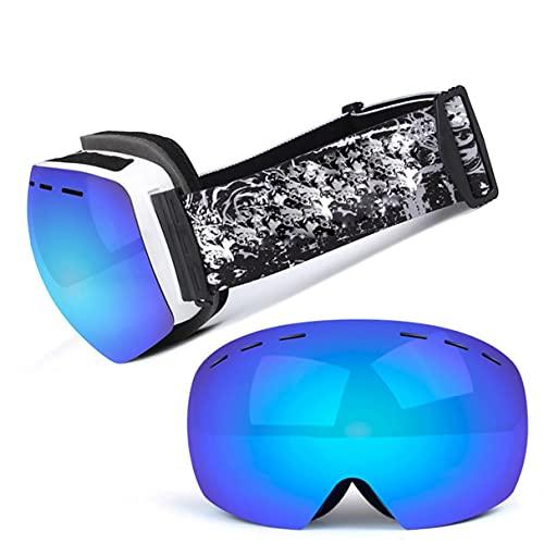 Morninganswer Esquí Snowboard Snow Goggles OTG Design para Hombres Mujeres con Lente Esférica Blanco Azul