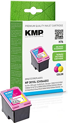 KMP Tintenpatrone Kompatibel mit HP 301 XL Farbig für HP Officejet 2620/2622, Deskjet 1000/1010/1050/1050A/1510/1514/2000/2050/2050A/2050SE/2054A/2510A/2542/2544/3000/3050/3050A/3050SE/3050VE