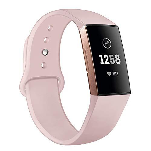 Kmasic Armband kompatibel mit Fitbit Charge 3 & 3 SE, Soft-Silikonband Ersatz-Armband Fitbit Charge 3 Smart Fitness-Uhr, klein, Sand Pink