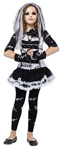 Travestimento 4–14anni, 5pezzi, la sposa cadavere versione bambina e adolescente di Chucky Frankenstein con calzamaglia di Halloween