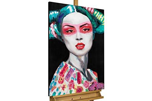 Kunstloft® Cuadro en acrílico 'Time to Come' 60x90cm | Original Pintura XXL Pintado a Mano sobre Lienzo | Abstracto Mujer Negro Turquesa | Cuadro acrílico de Arte Moderno con Marco