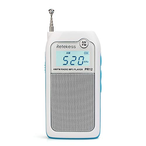 Retekess PR12 Am FM Radio de Bolsillo Sintonización Digital Mini Transistor Portátil DSP Reproductor MP3 Soporte para Tarjeta SD con Batería Recargable (Blanco)